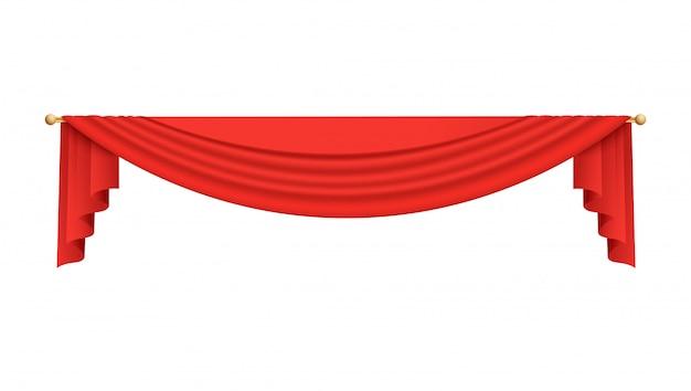 Scena teatru lub filmu kurtyna górna czerwona ilustracja na białym tle.