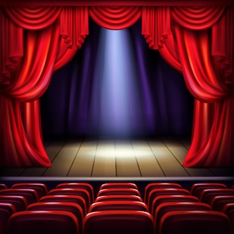 Scena teatru lub sali koncertowej z otwartymi czerwonymi zasłonami, punkt światła punktowego w centrum