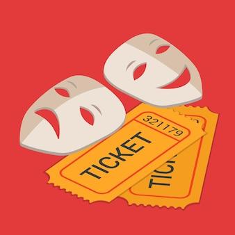 Scena teatru teatralnego klasyczna wystawa sztuki rezerwacja biletów płaskich izometrycznych