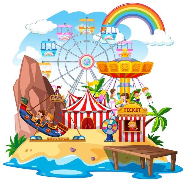 Scena themepark z wieloma przejażdżkami na wyspie