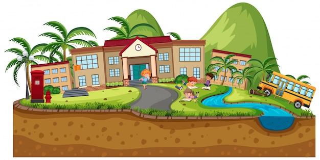 Scena tła budynków szkolnych