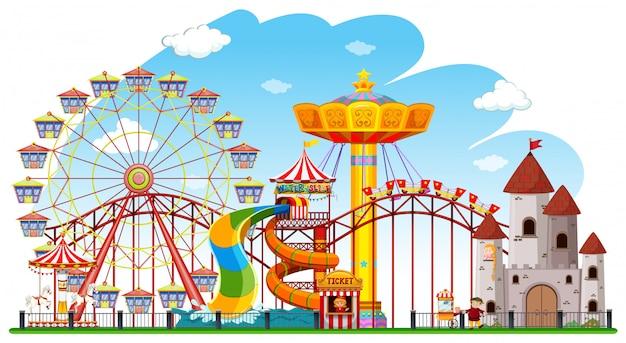 Scena tła parku rozrywki