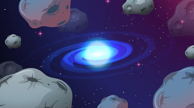 Scena tła przestrzeni asteroidy
