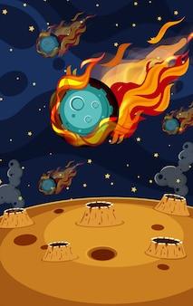 Scena tła z asteroidą latającą w przestrzeni
