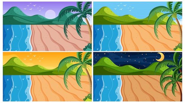 Scena tła z plażami w różnych momentach