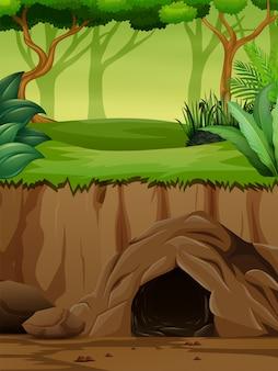 Scena tła z podziemną jaskinią w dżungli