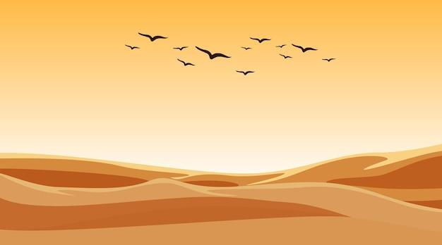 Scena tła z ptakami latającymi nad polem piasku