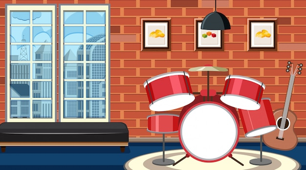 Scena tła z zestawem perkusyjnym w pokoju