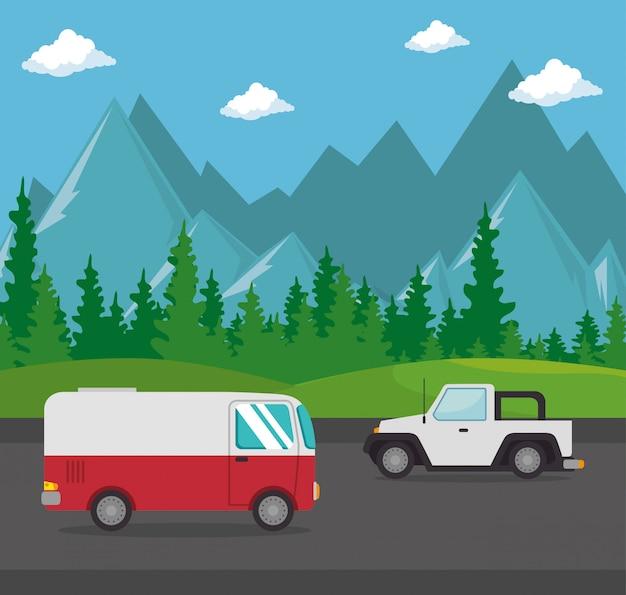 Scena transportu pojazdów samochodowych