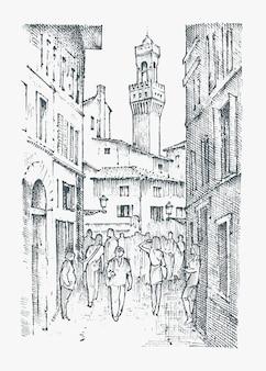 Scena ulice w europejskim mieście florencja we włoszech.