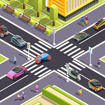 Scena ulicy izometrycznej transportu przyszłości