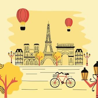 Scena uliczna w paryżu we francji