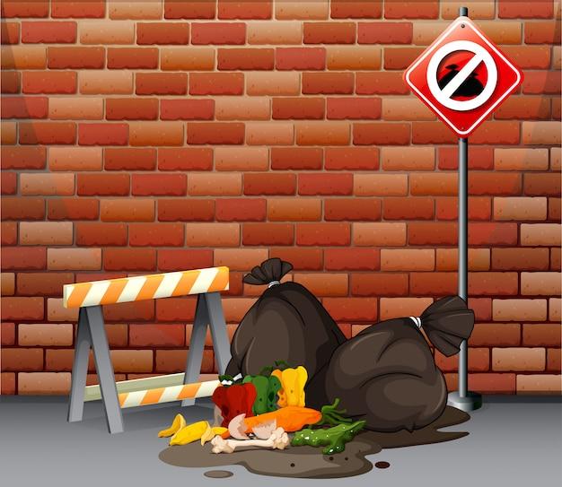 Scena uliczna z brudnym śmieciem na podłodze