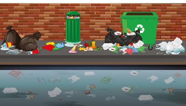 Scena uliczna z śmieciami