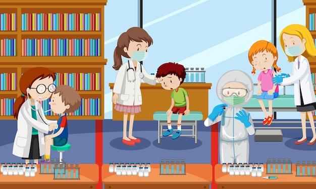 Scena, w której wiele dzieci otrzymuje szczepionkę przeciw covid-19 i wielu lekarzy postaci z kreskówek