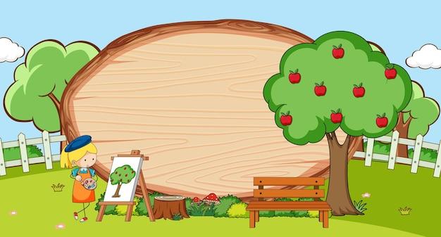 Scena w parku z pustą drewnianą deską w owalnym kształcie z postacią z kreskówki dla dzieci doodle