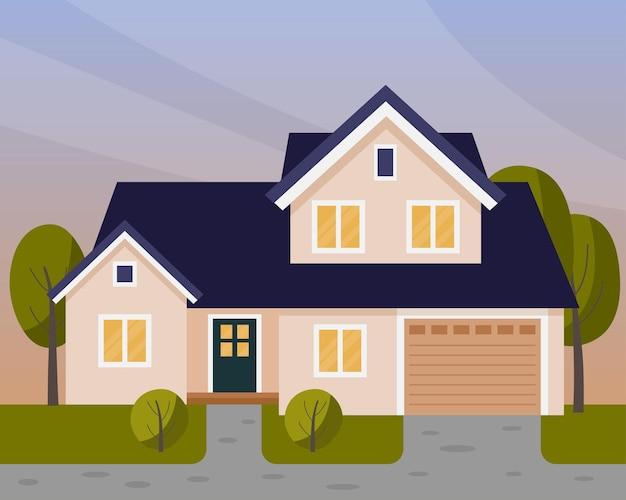 Scena wektorowa z domem wieczorem dwupiętrowy dom z garażem