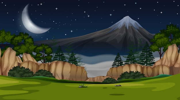 Scena widok górski w nocy tła