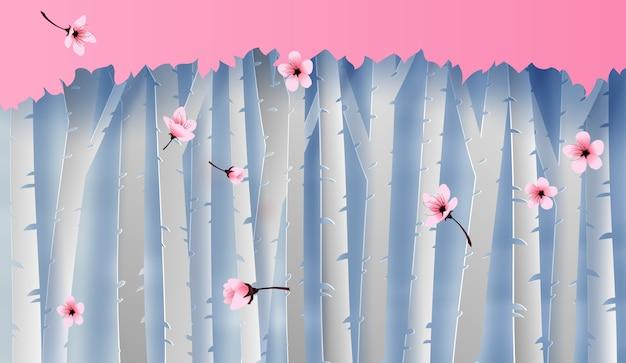 Scena widok lasu kolorowe kwitnąca wiśnia