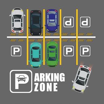 Scena widoku lotniczego strefy parkowania