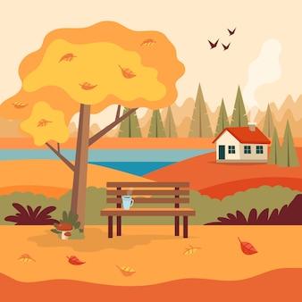 Scena wiejskiego krajobrazu jesiennego z uroczą ławką,
