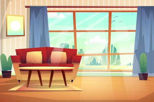 Scena wnętrza urządzonego salonu z czerwoną kanapą z poduszkami