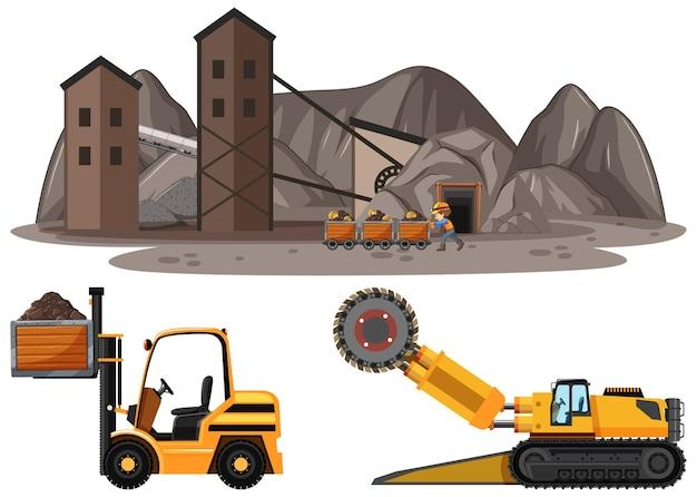 Scena wydobycia węgla z różnymi typami ciężarówek budowlanych