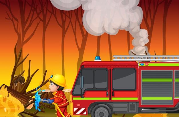 Scena wypadku z pożarem lasu