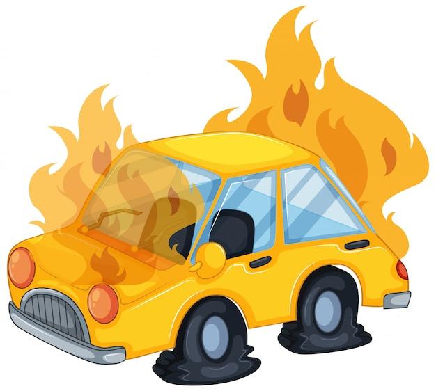 Scena wypadku z samochodem w ogniu