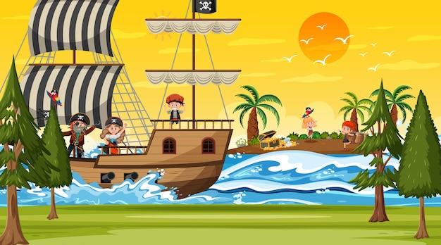 Scena wyspy skarbów o zachodzie słońca z piratami na statku
