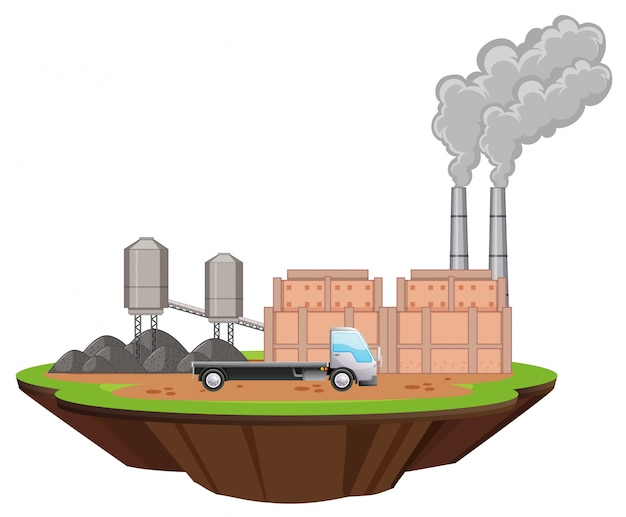 Scena z budynkami fabrycznymi i ciężarówką