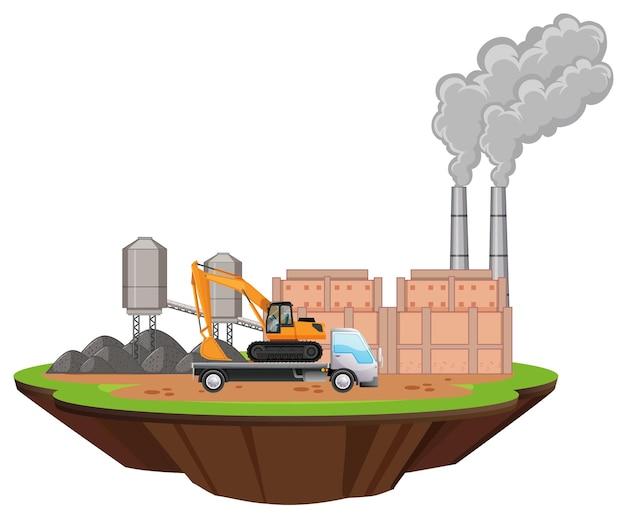 Scena z budynkami fabrycznymi i koparką na miejscu