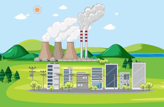 Scena z budynkami i fabryką przy wzgórzach