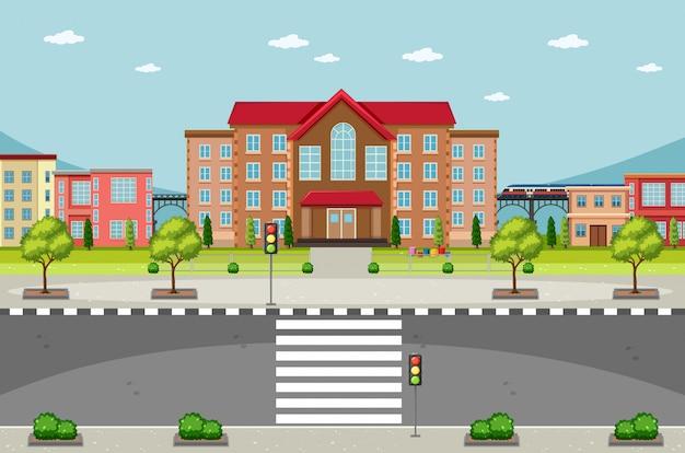 Scena z budynkami i pustą drogą