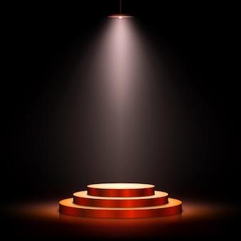 Scena z ceremonii wręczenia nagród na ciemnym tle