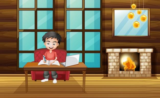 Scena z chłopcem pracującym nad pracą domową w domu
