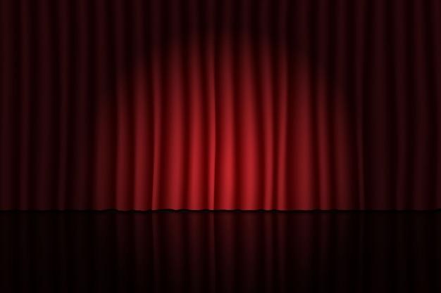 Scena z czerwoną kurtyną i reflektorem. tło teatru, cyrku lub kina