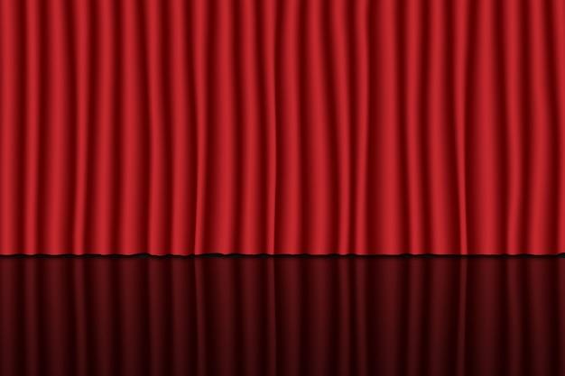 Scena z czerwoną kurtyną. tło teatru, cyrku lub kina