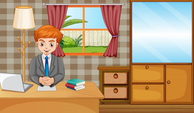 Scena z człowiekiem pracującym na komputerze w domu