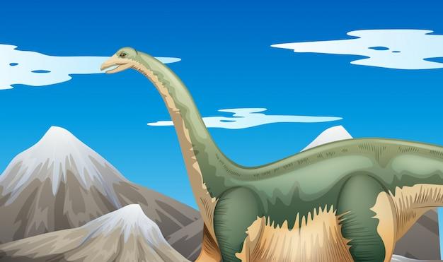 Scena z dinozaurami i górami
