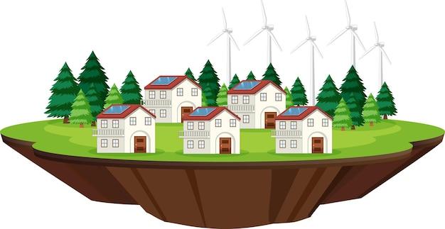Scena z domami i ogniwami słonecznymi na dachu
