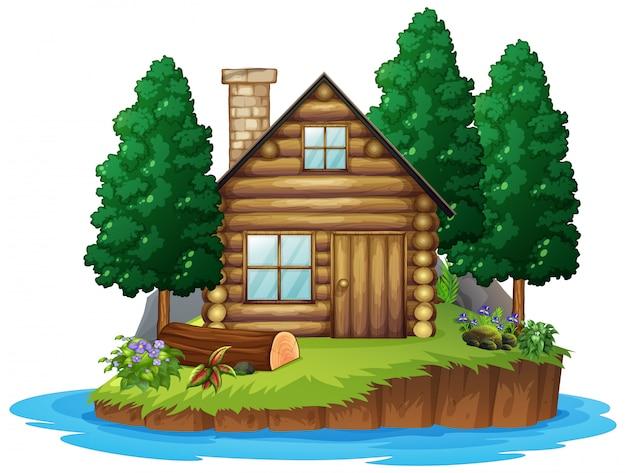 Scena z drewnianą budą na wyspie na białym tle
