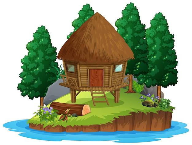 Scena z drewnianą chatą w lesie na białym tle
