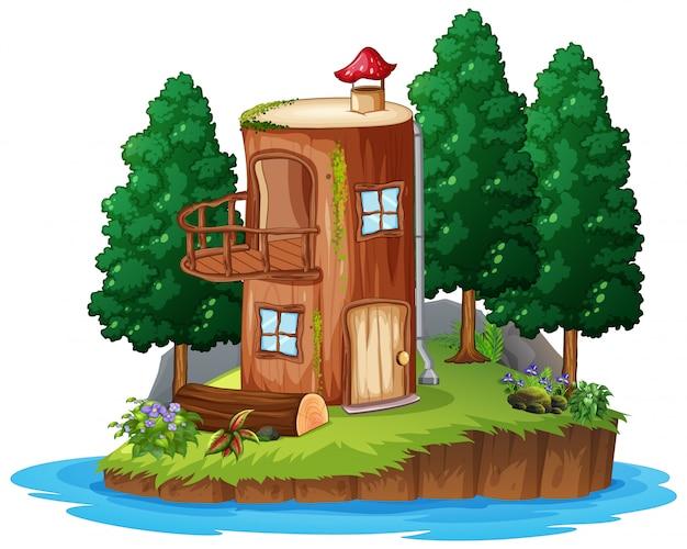 Scena z drewnianym domem na białym tle