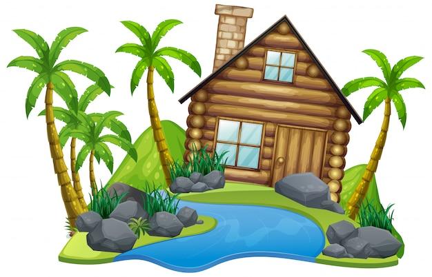 Scena z drewnianym domem na wyspie na białym tle