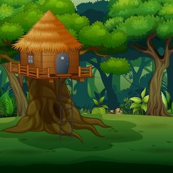 Scena z drewnianym domkiem na drzewie po środku lasu