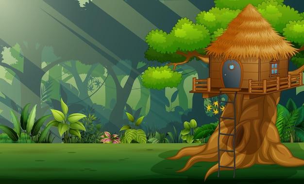Scena z drewnianym domkiem na drzewie w środku lasu