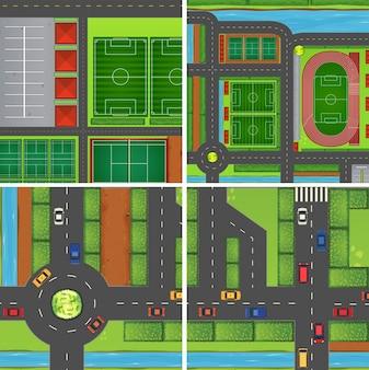 Scena z drogami i polami sportowymi