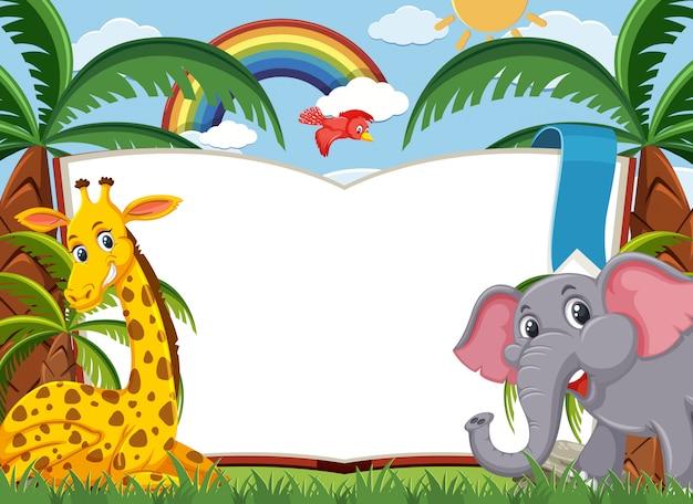 Scena z dużą pustą książką i dzikimi zwierzętami