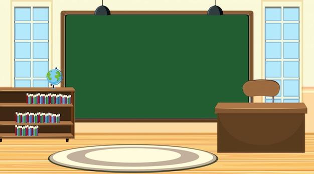 Scena z dużą tablicą i biurkiem nauczyciela